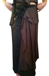 Marithé et François Girbaud Silk Linen Full Length European Maxi Skirt Black and Brown