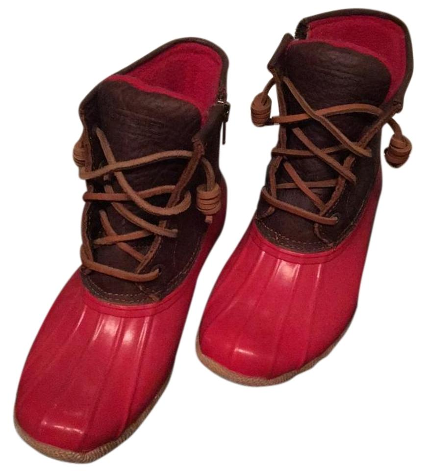 Sperry Red and and Red Brown Winter Boots/Booties 5b8ce3