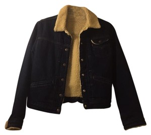 Levi's Shearling Denim Dark Denim Womens Jean Jacket