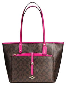Coach Satchel Shoulder F34103 Tote in GOLD/BROWN/PINK RUBY