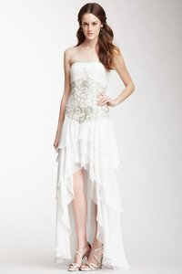 Sue Wong White Chiffon and Mesh Strapless Cascading Ruffle High-low ...