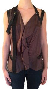 Marith et Franois Girbaud Strappy Silk European Sleeveless Night Out Top Black and Brown