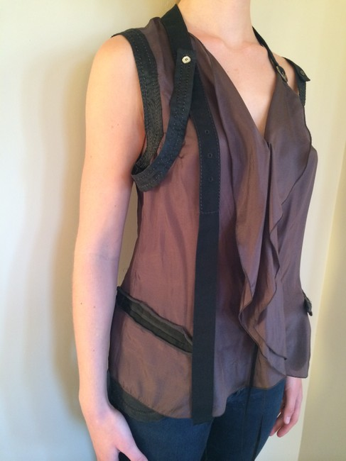 Marithé et Franois Girbaud Strappy Silk European Sleeveless Night Out Top Black and Brown Image 1