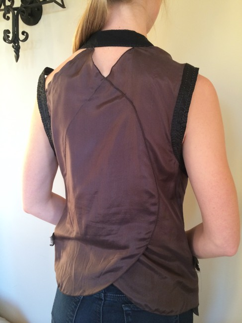 Marithé et François Girbaud Strappy Silk European Sleeveless Night Out Top Black and Brown