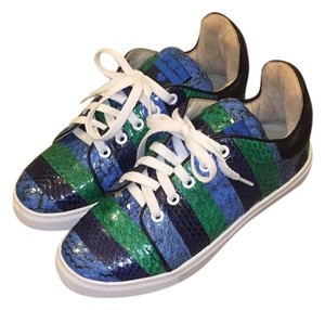 Isa Tapia Snakeskin Fashion Sneaker Blue and Green Athletic
