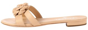 Chanel New Ch.k1025.05 Nude Flower Leather Sandals