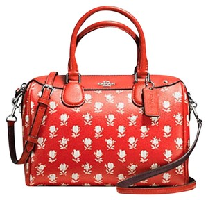 Coach Badlands Designer Handbag Satchel in Orange/ Carmine Multi Flowers