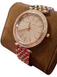 Michael Kors Michael Kors Darci Pave Crystal Accented Rose Gold Tone Watch NEW