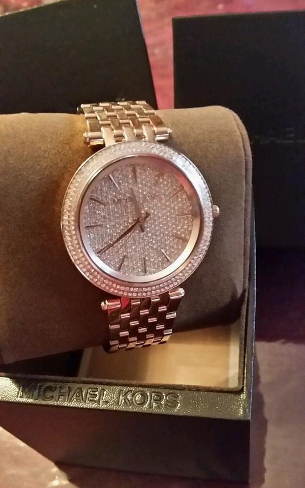 2bb8889babf7 Michael Kors Rose Gold Darci Pave Crystal Accented Tone New Watch - Tradesy