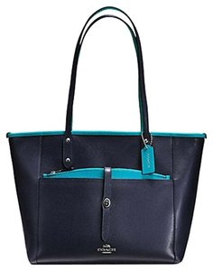 Coach Satchel F34103 36876 Tote in SILVER/MIDNIGHT TURQUOISE