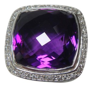 David Yurman 20mm silver Amethyst & Diamond Albion Ring Size 7,