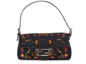 Fendi Fi.k1019.16 Blue Fabric Flower Embroidered Baguette