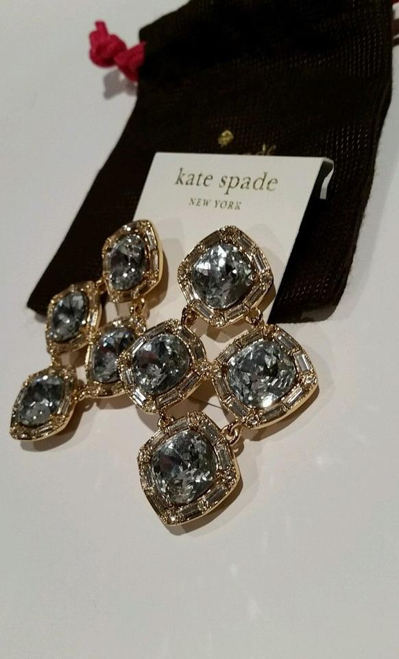 6e0555658 Kate Spade Gold Tone Clear Crystal 14k Fill Chandelier Drop New ...