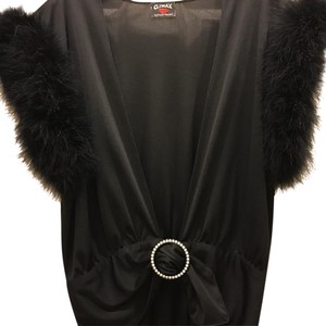 Climax by David Howard Faux Fur Silky Evening Dressy Top Black