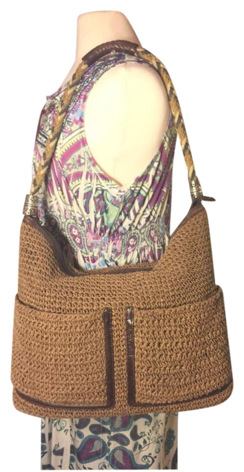 Brighton Xl Blend Weave Leather Dark   Light Brown Cotton Leather Hobo Bag 03e6f47d3e0a8