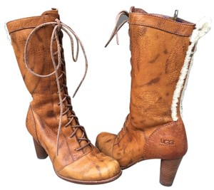 UGG Australia Heel Lace Up Leather Brown Boots