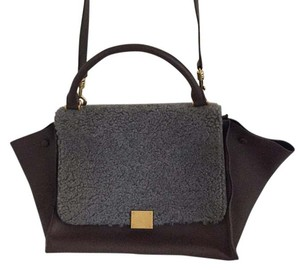 Céline Celine Trapeze Medium Satchel in Brown and Grey
