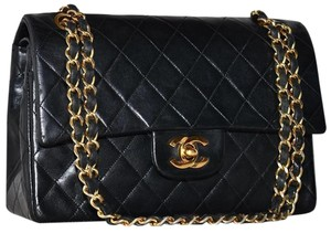 11bf1e4b9c81b3 Chanel 2.55 Reissue Vintage Classic Double Flap Quilted Cc Logo Small Med Black  Lambskin Leather Shoulder Bag