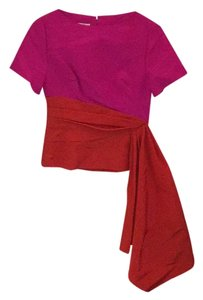 Oscar de la Renta Color-blocking Color-blocked Bright Colorful Two-tone Top Pink, Orange