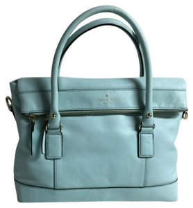 Kate Spade Leather Pebbled Leather Black Satchel in light blue