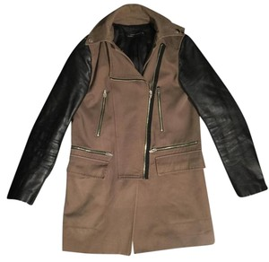 Zara Leather Sleeves Leather Hood Zipper Natural, Khaki Jacket