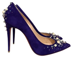 Christian Louboutin Candidate Stiletto Pearl Crystal Suede purple Pumps