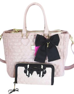 Betsey Johnson Quilted Swag Satchel in BLUSH