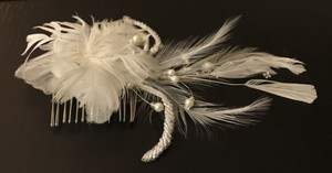 Bridal Feather Hairpiece With Pearls & Sequins