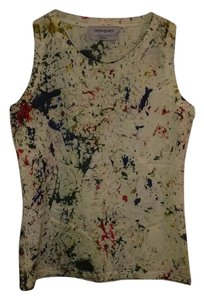 Saint Laurent Stretchy Painted Fitted Top Off-White, Multi-color