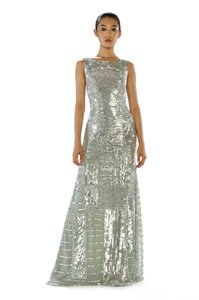 Theia Geometric Beaded Sequin Gown Dress