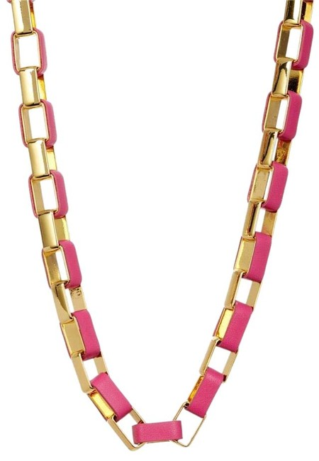 Item - Pink/Golc Gabby Leather Wrapped Necklace
