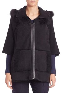 Elie Tahari Shearling Shearling Shearling Cape Coat Leather Jacket