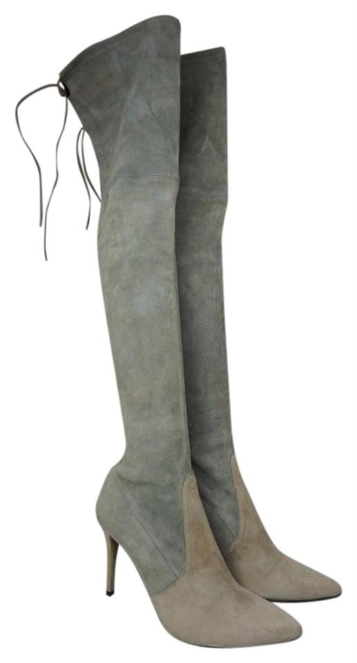 8405d70e648 Stuart Weitzman Two Tone Highland Over The Knee Grey Suede Boots Booties.  Size  US 8.5 ...