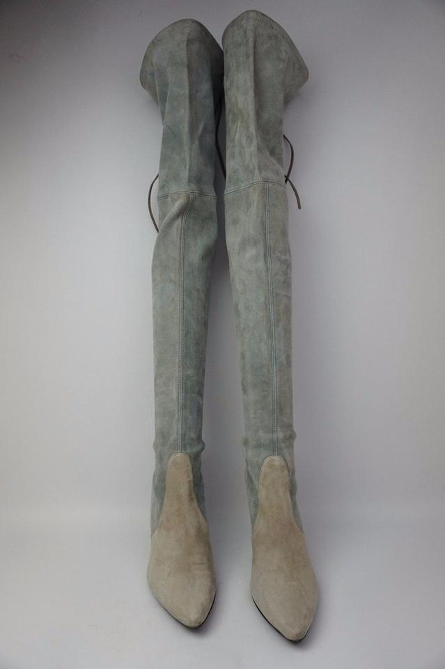 845cc3d7a Stuart Weitzman Two Tone Highland Over The Knee Grey Suede Boots ...