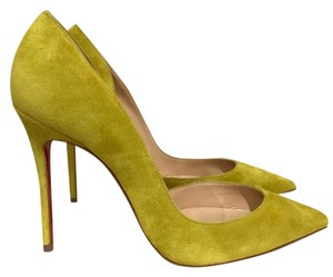 Christian Louboutin Iriza Stiletto Suede Cut-out yellow Pumps