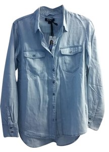 Buffalo David Bitton Chambrey Blue Button Down Shirt Denim