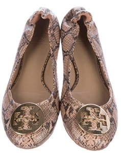 Tory Burch Hardware Reva Snakeskin Brown, black, gold Flats