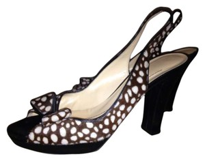 Kate Spade Made In Italy BROWN HORSEHAIR WITH WHITE DOTS Pumps