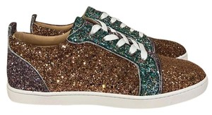 Christian Louboutin Gondoliere Orlato Flat Glitter Lace Up Sneaker Gold Athletic