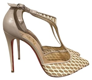 Christian Louboutin Salonu Mesh Leather Stiletto Strappy nude Pumps