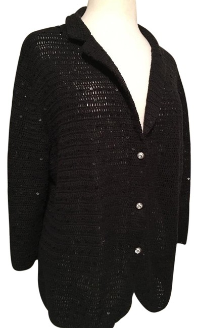 Black snap up sequin cardigan with button details
