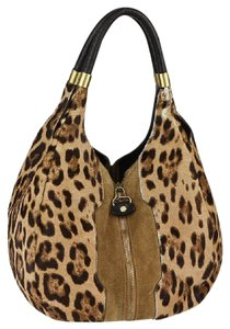 Jimmy Choo Leopard Mandah Animal Print Hobo Bag