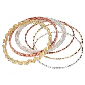 Twisted Rope Metal Bangle Braclets Set of 6