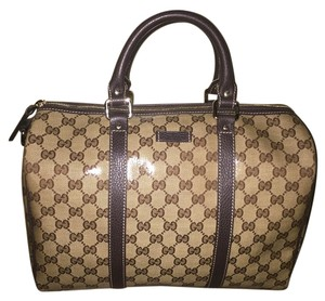 Gucci Boston Satchel in Beige and Brown (Guaranteed Authentic)