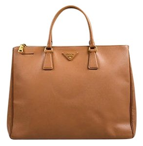 Prada Saffiano Leather Galleria Double Zip Tote in Tan