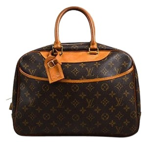 Louis Vuitton Tan Canvas Leather Monogram Deauville Tote in Brown
