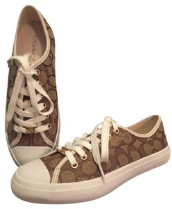 Coach Logo Jacquard Low Top Sneaker Canvas Khaki/Chalk Athletic