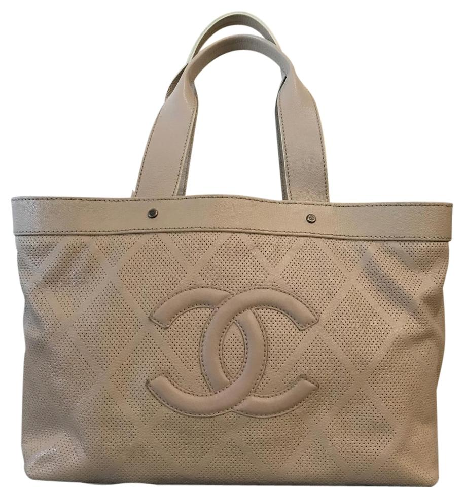 1d00c86cf908 Chanel Goatskin Perforated Large Taupe Large Tote - Tradesy