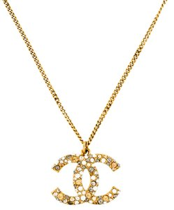 Chanel Pave Crystal Encrusted Gold XL CC Logo Pendant Multi-Colored Necklace