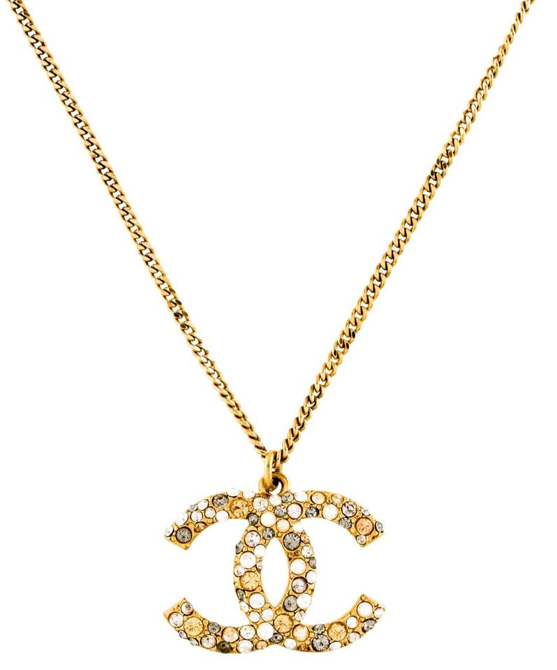 a73ec1aa7e Chanel Gold Crystal XL Pave Encrusted Cc Logo Pendant Multi-colored Necklace